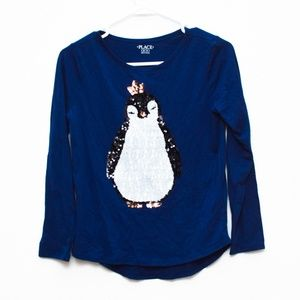 The Childrens Place Top Girls XL 14 Blue Penguin